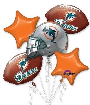 Miami Dolphins Football Balloon Bouquet- NFL Team Party