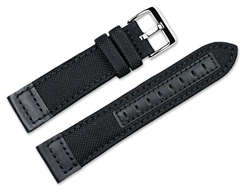 22mm-replacement-watch-band-nylon-canvas-with-leather-trim-black-watch-strap