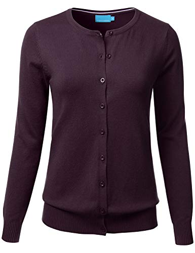 Cotton Nylon Cardigan - FLORIA Women's Button Down Crew Neck Long Sleeve Soft Knit Cardigan Sweater Darkpurple S