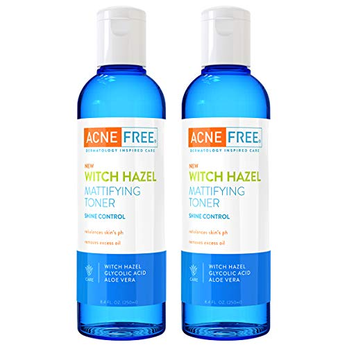 AcneFree Witch Hazel Mattifying Toner Pack of 2, 8.4oz each, With Witch Hazel, Glycolic Acid, Aloe Vera, Toner to Help Rebalance Skin