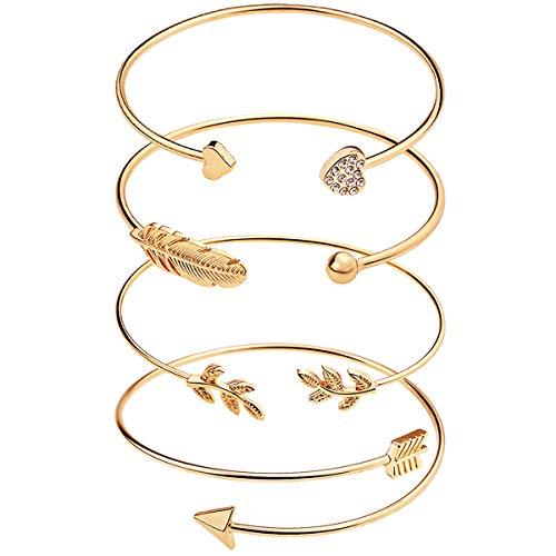 Suyi 4 Pcs Adjustable Cuff Bracelet Open Wire Bangle Stackable Wrap Bracelet Set for Women Girls Gold