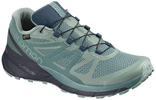 Salomon Sense Ride GTX Invisible Fit Trail Running Shoes - Women's Trellis/Graphite/Hydro 8.5