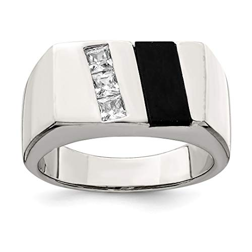 - 925 Sterling Silver Mens Cubic Zirconia Cz Black Onyx Band Ring Size 9.00 Man Fine Jewelry Dad Mens Gift Set