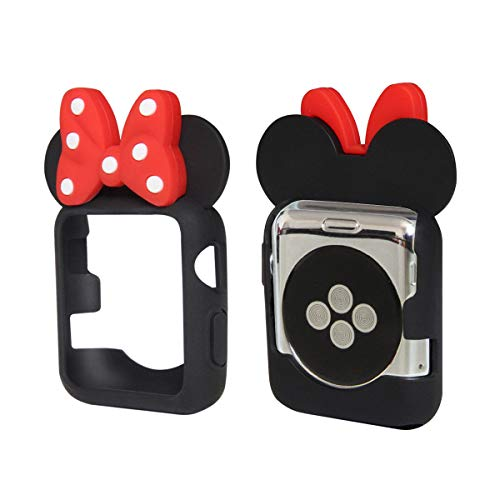 e Ears Cartoon Character Case Polka Dot Bow Corner & Edge for Apple Watch [iWatch] 38mm & 42mm Series 1, 2 & 3 Colorful Flexible TPU Cover Accessories (Black, 42mm) ()