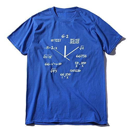 Sanford Clock - ANDTUN-fashion-t-shirts Cotton Math Clock Print Funny Men T Shirt Short Sleeve o-Neck t-Shirt Cool Summer,MA0120A-BL,L