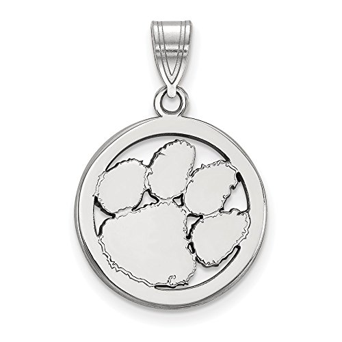 Beautiful Sterling silver 925 sterling Sterling S. Rh-plated LogoArt Clemson University Med Pendant in Circle