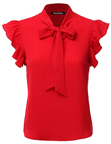 FASHIONOLIC Women's Casual Cap Sleeve Bow Tie Blouse Top Shirts (PSALM23) RED L