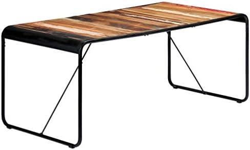 Online Winkel Tidyard Eetkamertafel, eettafel, keukentafel, koffietafel, koffietafel, 180 x 90 x 76 cm, bijzettafel, kist tafel, woonkamertafel, gerecycled massief hout en gepoedercoat staal  spAlNaO