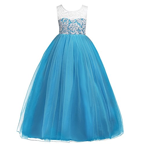 Little Big Girls' Tulle Dresses 7-16T Ruched Lace Pageant Party Wedding Bridesmaid Floor Length Evening Dance Gowns Sky Blue 13-14 Year ()
