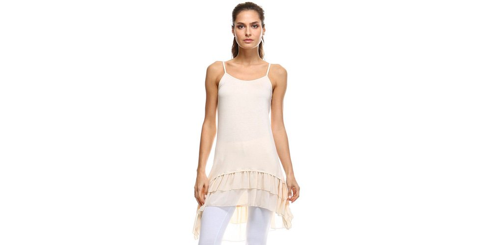 Stay Warm in Style Cotton-Blend Layering Top Extender Camisole and Chiffon High-Low Extenders (XXXL, Cream Chiffon) by Stay Warm in Style