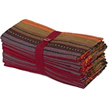 Cotton Craft- 12 Pack -Salsa Stripes Oversized Dinner Napkins - Red Multi - Size 20x20-100% Cotton - Tailored with Mitered Corners and a Generous Hem - Easy Care Machine wash