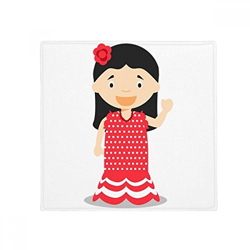 DIYthinker Flower Red Dress Spain Cartoon Anti-slip Floor Pet Mat Square Bathroom Living Room Kitchen Door 60/50cm Gift by DIYthinker