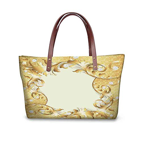 A-frame Style Handbag - Custom Handbag Tote Shopping Bags Pearls,Illustration of a Frame with Ornaments and Pearls Baroque Style Floral Patterns,Cream Golden Printing Tote Bag Striped