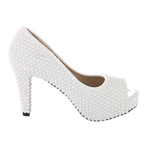 Pumps Pearls White Shoes Women Heel of High Party for Sandals and Prom Platform Wedding VELCANS Pearls qgOwB1ZwX