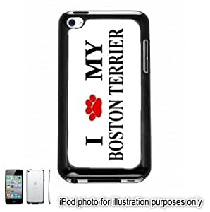 Boston Terrier Paw Love Dog Apple iPod 4 Touch Hard Case Cover Shell Black 4th Generation Kimberly Kurzendoerfer