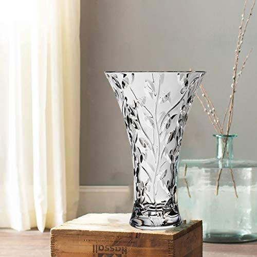Le raze Elegant Glass Vase for Flowers, Home Decor or Wedding Centerpiece 11 Decorative Crystal Flower Vase