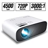 ELEPHAS Mini Movie Projector, with 4500 LUX Brightness and 50, 000 Hours of Lamp Life, Supports Full HD 1080P and 200
