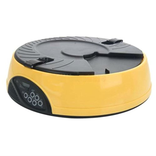YELLOW- Timed Automatic Pet Feeder Auto Dog Cat Food Bowl Dispenser Programmable