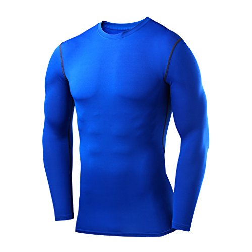 PowerLayer Men's Boys Compression Shirt Long Sleeve Base Layer Thermal Top - Blue Large Boy (10-12 Years)