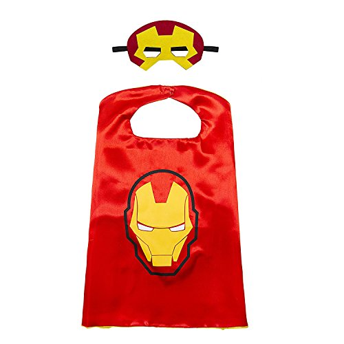 White sugar in summer Christmas Superhero Costume and Dress Up for Kids - Satin Cape and Mask (Iron Man) ()
