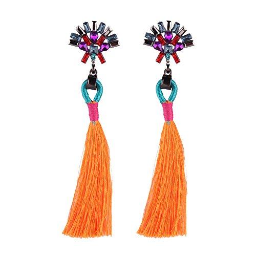 CAIYCAI New Statement Jewelry Cheap Tassel Long Earring For Women Wedding Dangle Drop Earrings Orange onesize