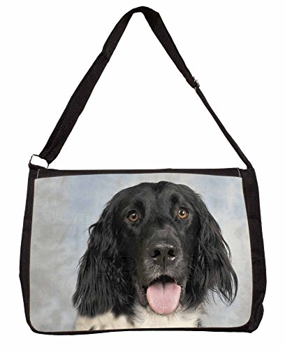 Munsterlander Dog Large 16 Black School Laptop Shoulder Bag