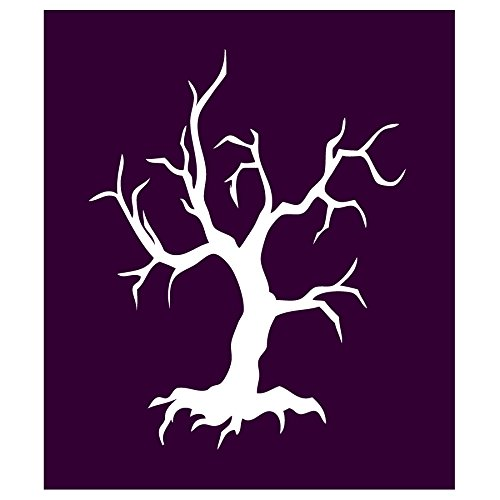 Auto Vynamics - STENCIL-WITCH-TREE - Creepy Old Dead Tree Individual Stencil from Detailed Witches & Witchcraft Stencil Set! - 9-by-10-inch Sheet - Single Design (Pocus Hocus Magic Set)