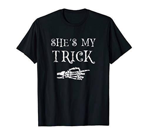 Couples Halloween Costume Matching T-Shirt - She's My Trick