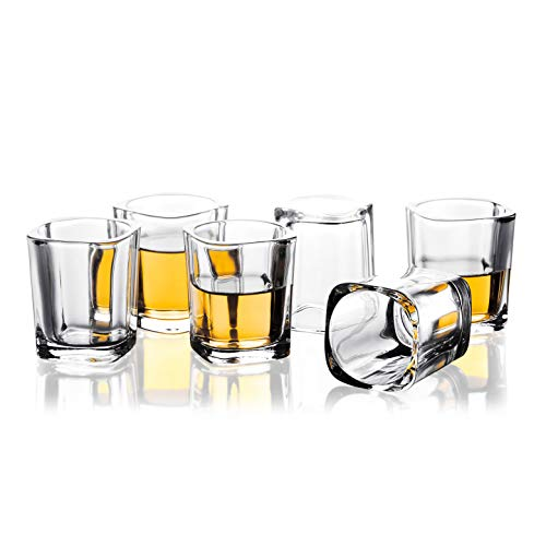 REATR 2oz Shot Glasses Set of 6 Square Blank Thick Shot Glass Tequila Funny Liqueur Drinking Glassware For Vodka, Liquor, Rum, Spirit, Alcohol Small Mini Glass Cup Tumblers