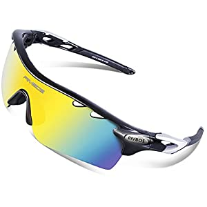 RIVBOS 801 Polarized Sports Sunglasses Sun Glasses with 5 Interchangeable Lenses (UpGrade TR Black)