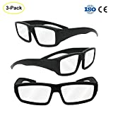 LifecolorPlasticSolarEclipseGlasses/ WithCarryCase/ AdultSize/ CoolStyleandLook - CEandISOCertified - SafeSolarViewing–3Pack(3Glassesand3Cases)
