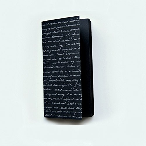 Travelers Notebook Insert, Black Paper Notebook Insert For Creative Use. Silver Script Font Cover. Makes A Lovely Quote Book, Instax Photo Book or For Creative - Polaroid Uses Of