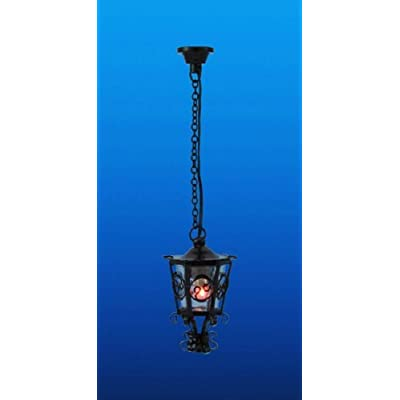 Melody Jane Dollhouse Black Scrolled Hanging Lantern Ceiling Lamp 12V Electric Lighting: Toys & Games