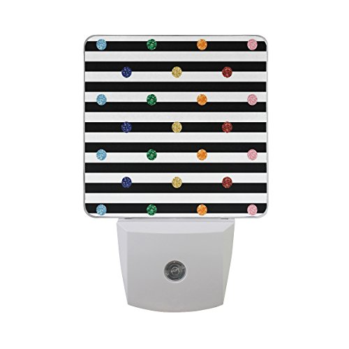 - JOYPRINT Led Night Light Glitter Rainbow Polka Dot Stripe Black and White, Auto Senor Dusk to Dawn Night Light Plug in for Kids Baby Girls Boys Adults Room