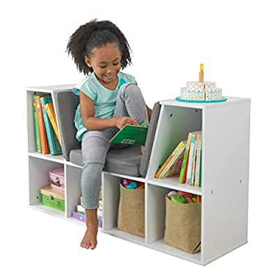 KidKraft Children's Bookcase with Reading Nook and Cushions, White | 14230: Kitchen & Dining