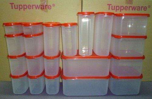 TUPPERWARE MODULAR MATES 20 PIECE SET BLACK / RED