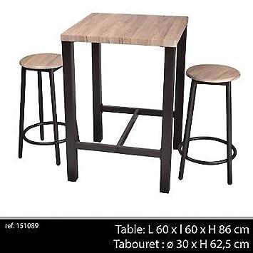 e467bb998b5160 LIFE DECO Table DE Bar APPOINT + 2 Chaise Tabouret Industriel Bois ET Metal  DESSERTE LOFT