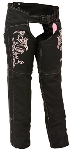 Milwaukee Leather Women's Textile Chap w/ Tribal Embroidery & Reflective Detail (XL)
