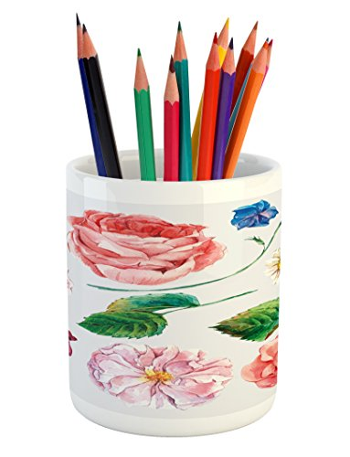 Ambesonne Floral Pencil Pen Holder, Bouquet Set with Rose Daisy Petals and Branches Shabby Chic Vintage Picture, Printed Ceramic Pencil Pen Holder for Desk Office Accessory, Pink and Green