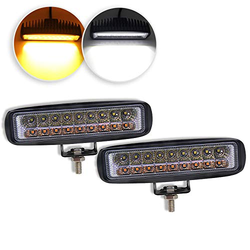 (LED Light Bar 6 inch Dual Color Led Pods Off-Road Amber Light Bar 3500K 6500K Flood Driving Fog Lights Driving Lamps Yellow White Led Work Light Bar for SUV ATV Truck Garden Lighting (921S-2))