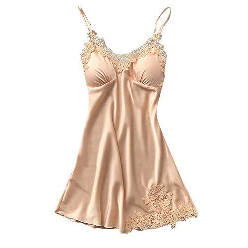 - Sleepwear Women V Neck Chemise Sling Dress Sexy Lace Sleepwear Lingerie Full Slips Robe Babydoll Sleepwear Dress Beige
