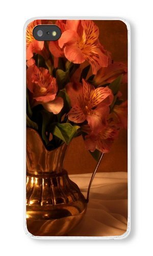 Cunghe Art Custom Designed Transparent PC Hard Phone Cover Case For iPhone 5S With Alstroemeria Bouquet Pitcher Phone Case ()