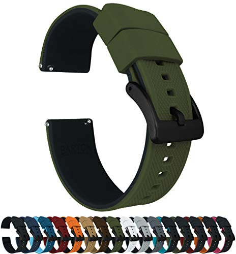 Barton Elite Silicone Watch Bands - Black Buckle Quick Release - Choose Strap Color & Width - Army Green/Black 22mm