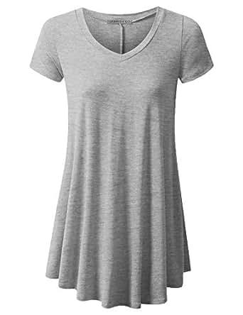URBANCLEO Womens V-Neck Elong Tunic Top Mini T-Shirt Dress Hgray Small