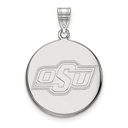 14k White Gold LogoArt Official Licensed Collegiate Oklahoma State University (OSU) Large Disc Pendant by Logo Art