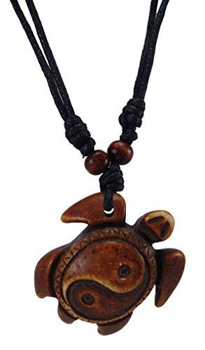 Brown Turtle Necklace - Yin Yang Turtle Necklace - Sea Turtle Necklace - Hawaiian Beach Turtle Carey