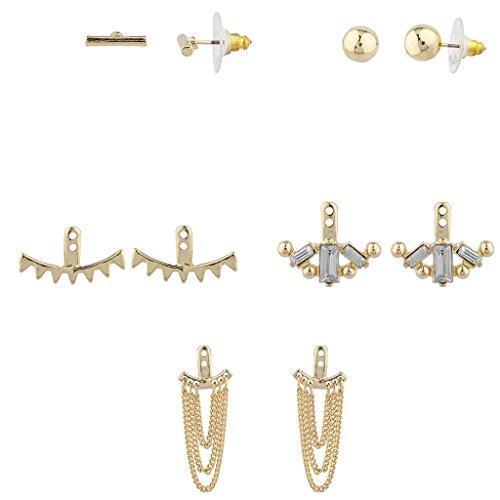 [Lux Accessories Goldtone Geo Miss Match Ear Jacket Multi Earring Set 5PC] (Ladies Ring Leader Costume)