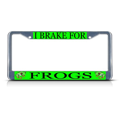 Border Frog (I BRAKE FOR FROGS Chrome Metal Heavy Duty License Plate Frame Tag Border)
