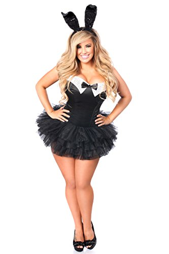 Daisy Corset Costumes (Daisy Corsets Women's Plus-Size Top Drawer Plus Size Formal Tuxedo Bunny Costume, Black, 4X)