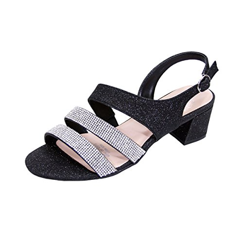 (Floral Dorothy Women Extra Wide Width Chic Rhinestone Straps Dressy Party Heeled Sandals Black 12)